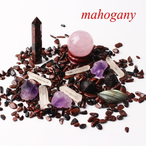 1 Mahogany Obsidian Set Includes: Obelisk, Sphere, Wand, Heart, Gravel