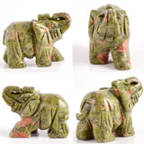 2 inch Crystal Elephant Figurines Carved From Natural Stone - Perfect for Chakra Healing