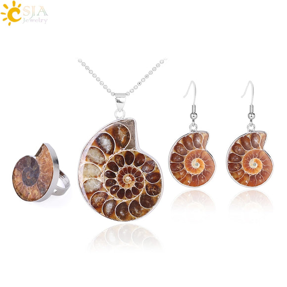 Natural Ammonite Fossil Stone Jewelry Set - Includes Necklace, Earrings and Ring