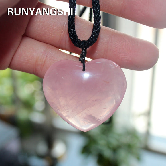 Love Heart Shape Natural Healing Stone Rose Quartz Necklace 35mm