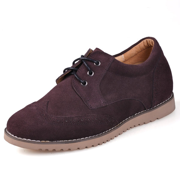 Men Low Heel Suede Leather Comfortable height enhancing shoes that make you look taller