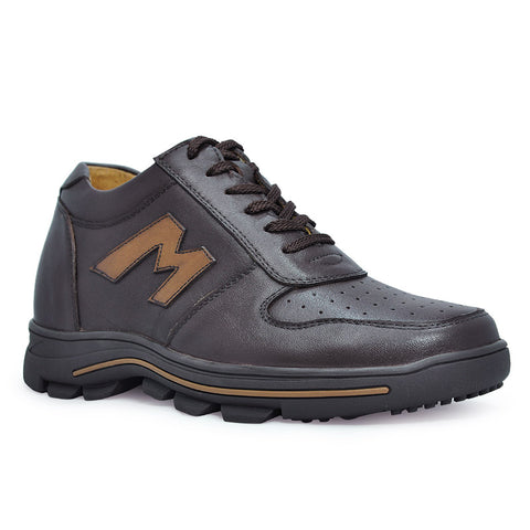 Sport Brown Cow Leather Lace-Up Rubber Sole Elevator Shoes For Men