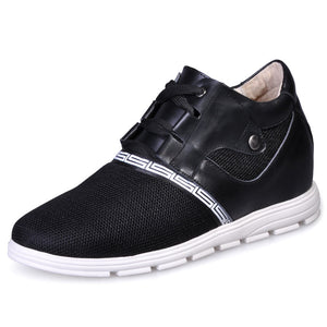 Cow Leather Net Cloth  Elevator Shoes for Man