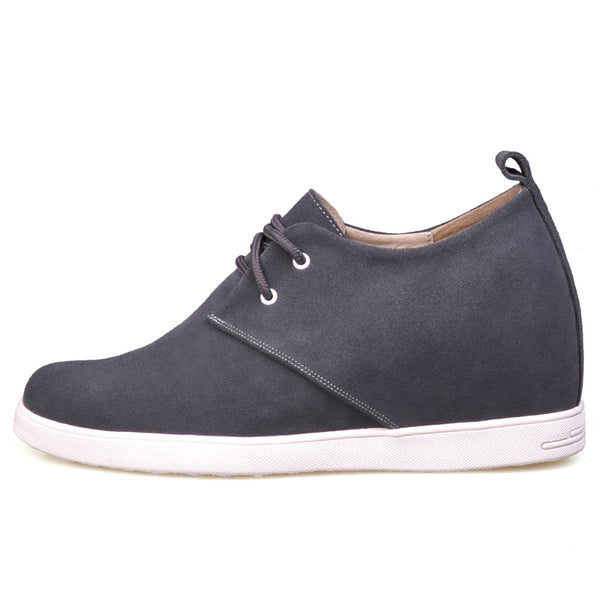 Suede Leather Men Casual Elevator Shoes  with lace up