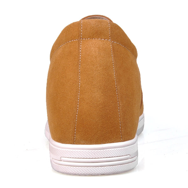 Casual Suede Lace-Up Rubber Sole Men's Elevator Shoes