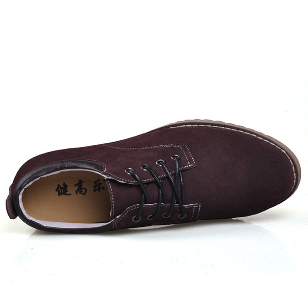 JGL Suede Leather Men Low Heel Stylish Elevator Shoes