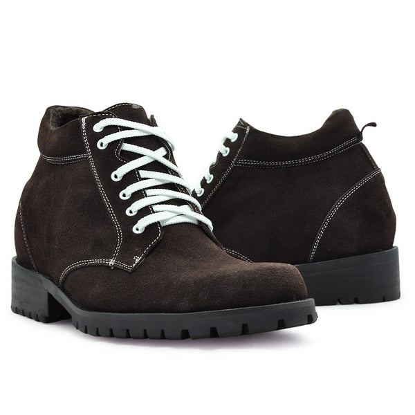 Men's  Low  Heel  Suede  Leather  Elevator  Boots