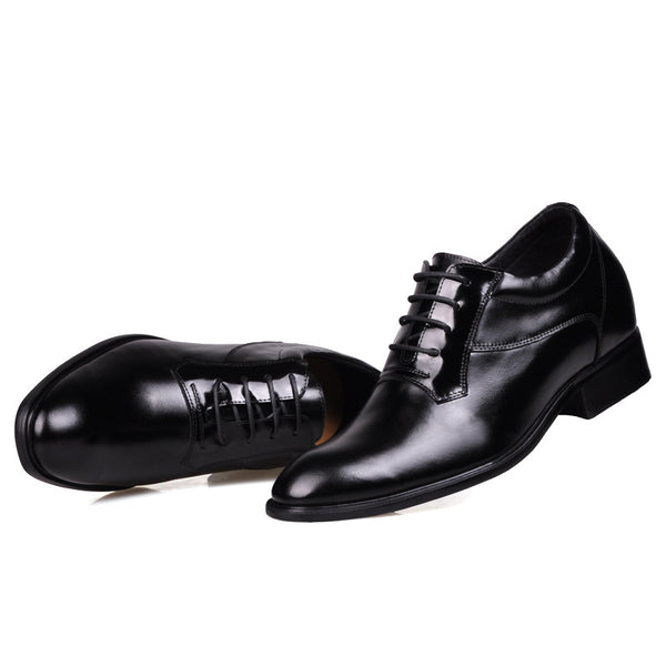 Leather Men Low Heel Comfort Oxfords Elevator Shoes