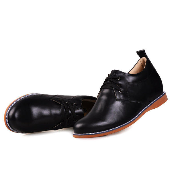 Black Rubber outsole invisible heel elevator shoes