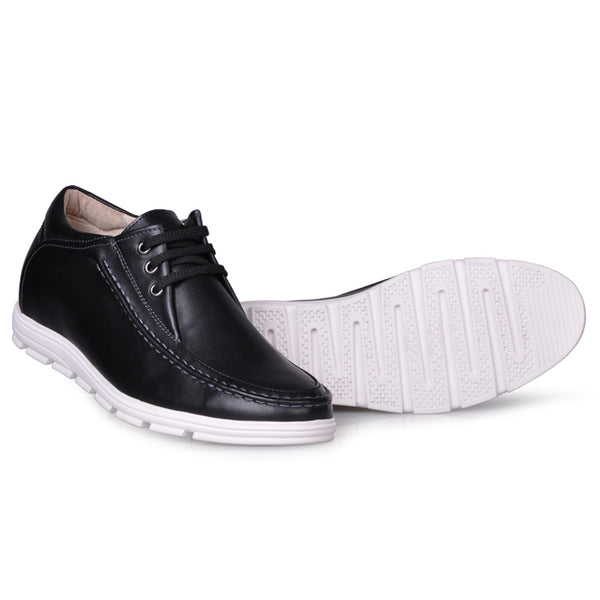 Black elevator shoes handmade with high quality genuine leather