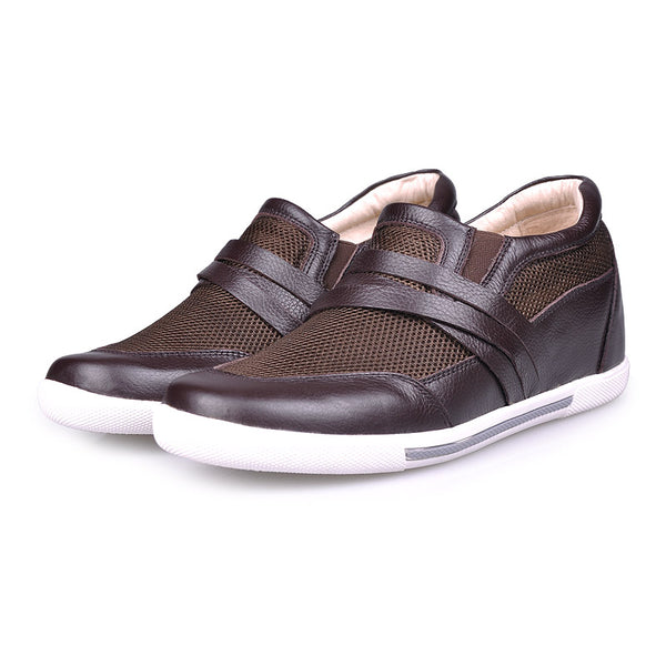 Cow Leather Net Cloth Men's Elevator Shoes