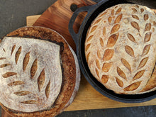 Load image into Gallery viewer, Traditional Country Sourdough (whole wheat & rye blend) - half or whole boule