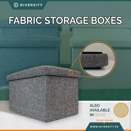 Foldable Fabric Storage Box (Ottoman Stool)