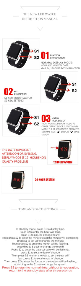 Men Sports Casual LED Digital Watches Man Army Military Silicone Wrist Watch - Securgadget Store