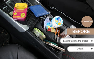 Car Seat Organizer Leather Storage Box Console Side Pocket with Non-Slip Mat for Cellphone Wallet Coin Key Card - Securgadget Store