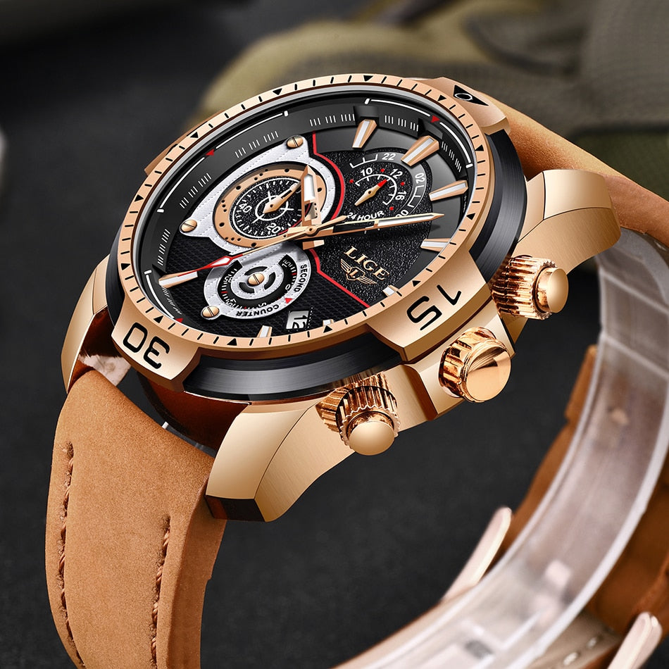 Men Watches Leather Quartz Clock Male Sport Waterproof Watch - Securgadget Store