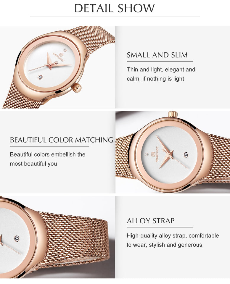 Women Fashion Dress Quartz Watches Lady Stainless Steel Waterproof Wristwatch - Securgadget Store