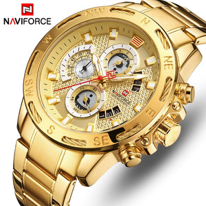 Men Sport Watches Gold Full Steel Quartz Watch Waterproof - Securgadget Store