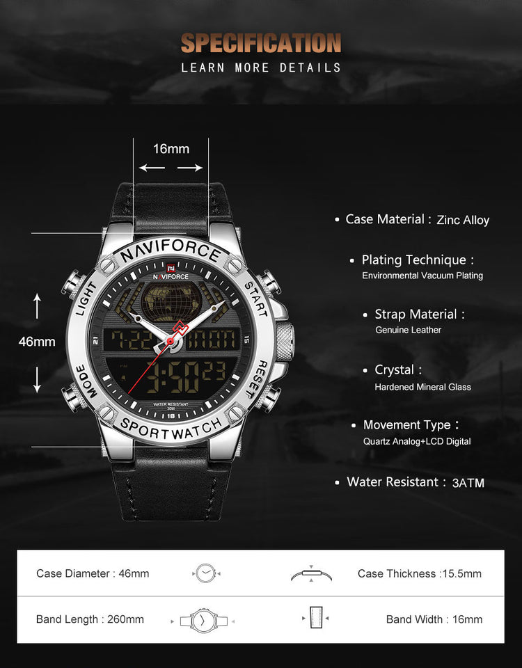 Men Watch Quartz Wristwatch With Box Set For Sale - Securgadget Store