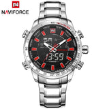 NAVIFORCE Top Brand Men Military Sport Watches Mens LED Analog Digital Watch Male Army Stainless Quartz Clock Relogio Masculino