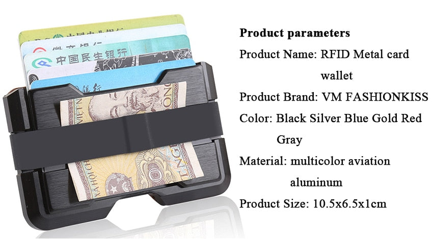 VM FASHION KISS Famous Wallet Men RFID Aviation Aluminum Security Thin Metal Card Wallet Mini Money Clip Credit Card ID Holder - Securgadget Store