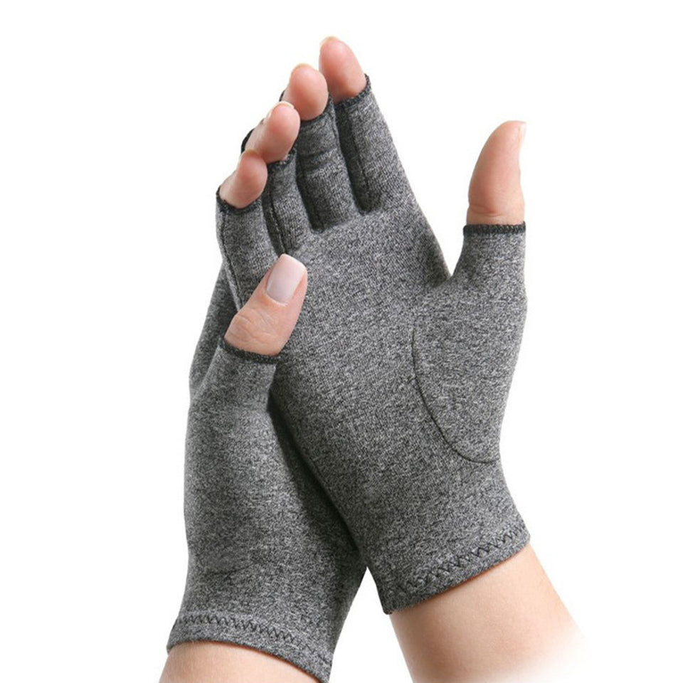 One Pair Women Men Arthritis Compression Open Finger Gloves - Securgadget Store