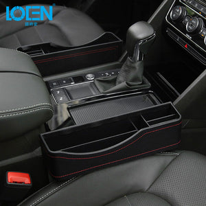 LOEN 1PC PU Leather Car Catch Filler Organizer Between Seat & Console Side Pocket Organizer Catcher for Automobile Black Beige - Securgadget Store