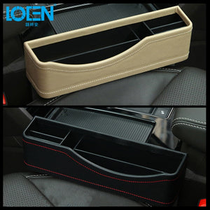 LOEN 1PC PU Leather Car Catch Filler Organizer Between Seat & Console Side Pocket Organizer Catcher for Automobile Black Beige