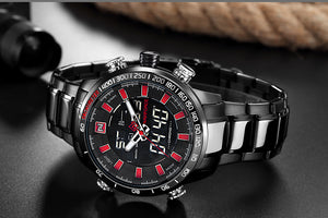 Men Rugged Sport Watches LED Analog Digital Stainless Steel Watch - Securgadget Store