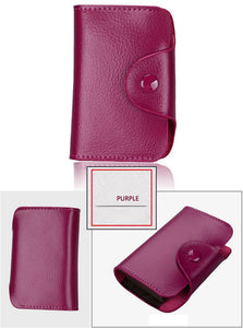 TRASSORY Rfid Blocking 15 Slots Genuine Leather Business Credit ID Card Holder Purse Women Small Security Card Wallet