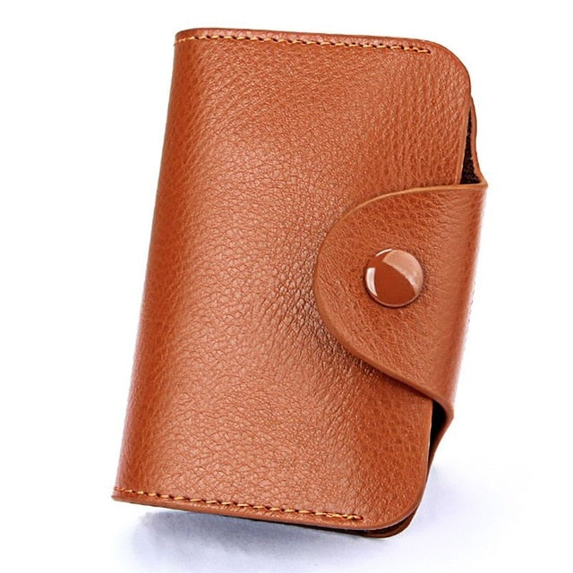 TRASSORY Rfid Blocking 15 Slots Genuine Leather Business Credit ID Card Holder Purse Women Small Security Card Wallet - Securgadget Store