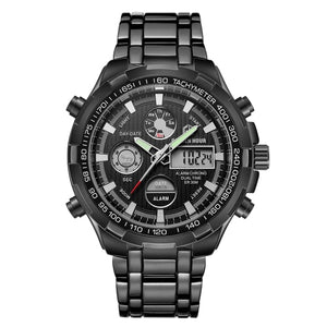 Sporty Watches for Men Silver Steel Digital Quartz Analog Watch - Securgadget Store