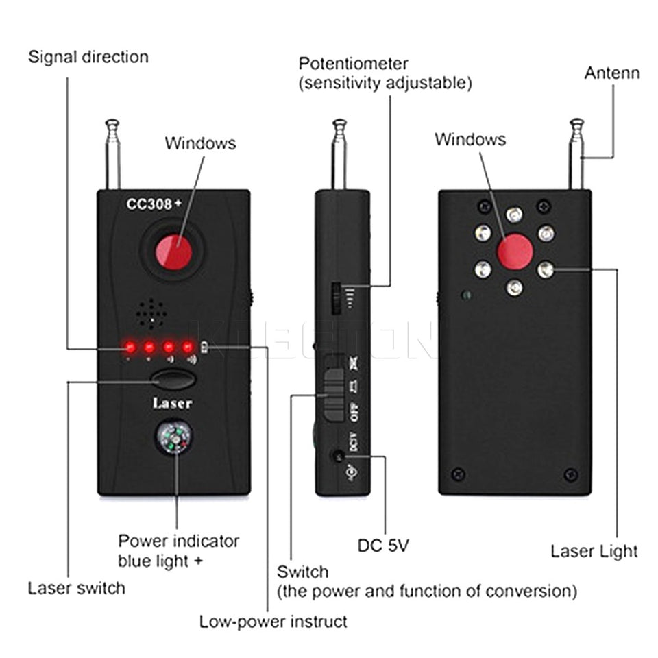 Signal Detector Radio Wave Signal Detect Camera Full-range WiFi RF GSM Device Finder - Securgadget Store
