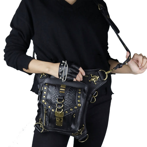 Pu lady steampunk one-shoulder cross-bag sports Waist Bag
