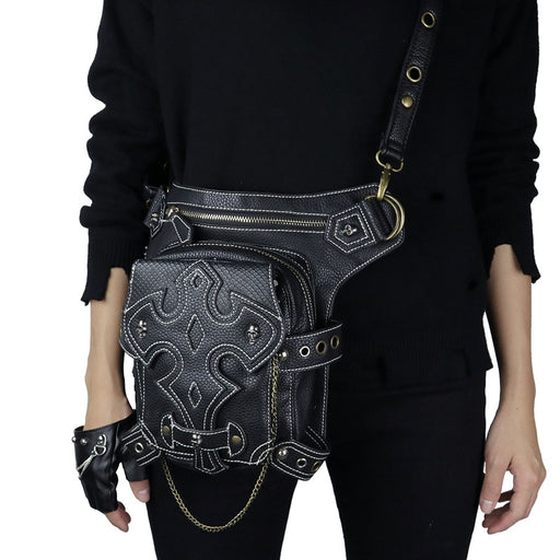 Steampunk Multifunctional PU leather lady's outdoor sports Waist Bag