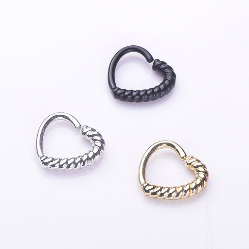 Gothic half twist heart-shaped nose ring