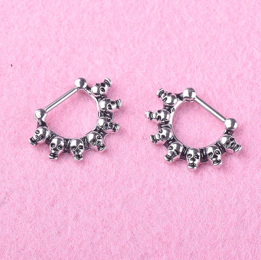 Gothic skull nasal septum medical steel earring nose ring