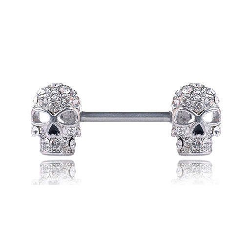 Gothic diamond skull nipple ring