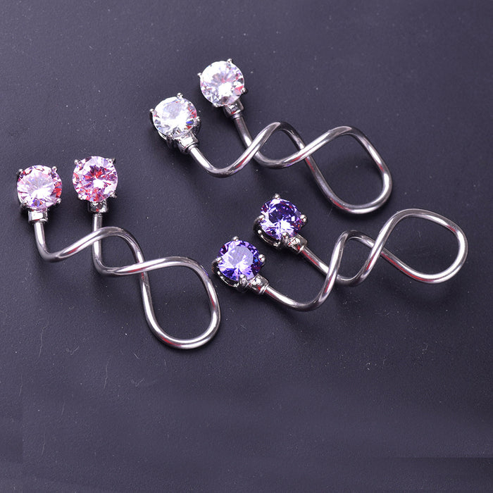 Gothic zircon long twist earrings