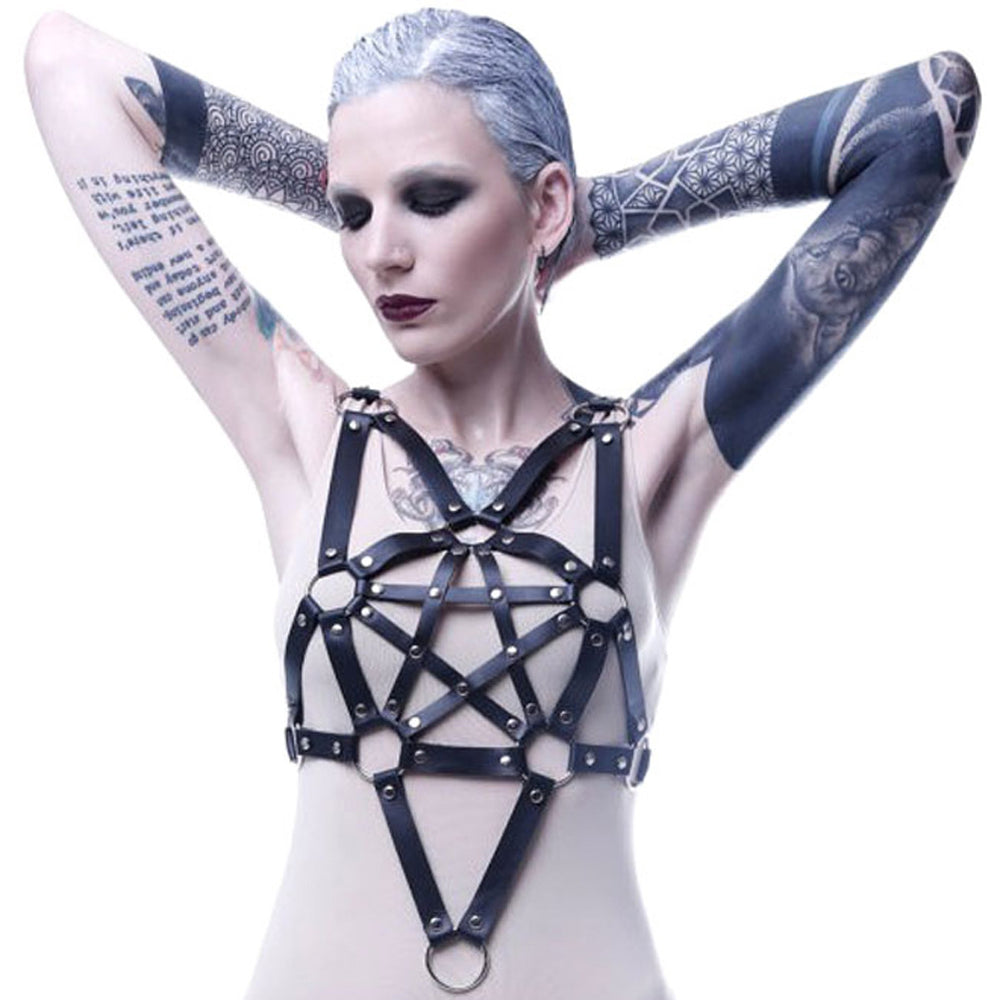 Punk style handmade leather five-pointed star binding adjustable bra chest belt belt strap
