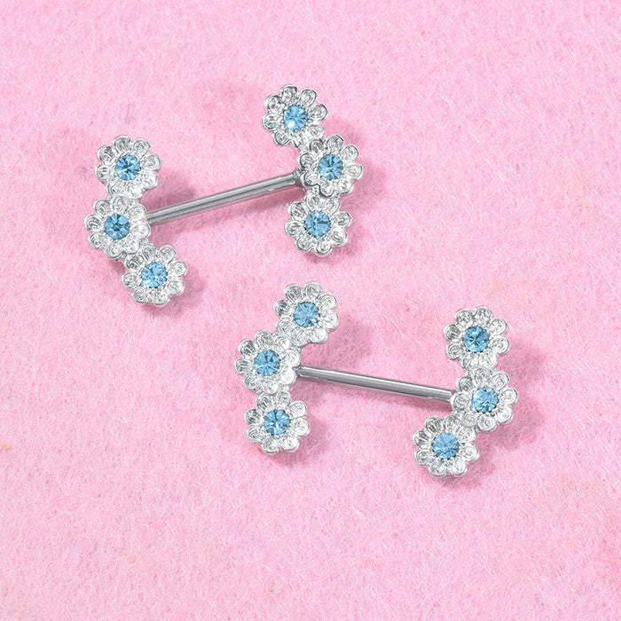 Gothic sexy and lovely set diamond flower nipple ring