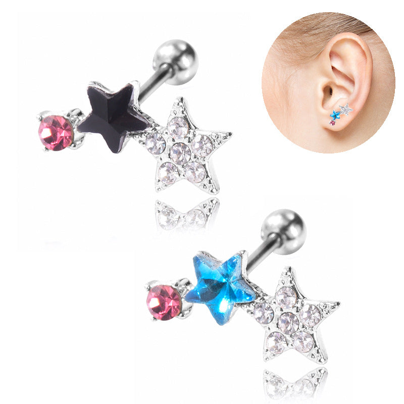 Gothic five-pointed star diamonds earrings