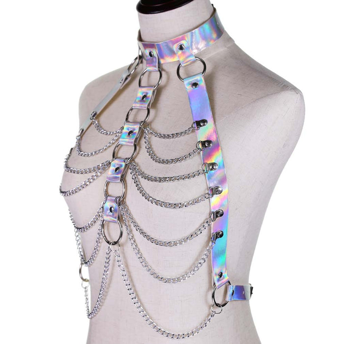 Punk style sexy leather blouse suspender body chain fashion laser chain