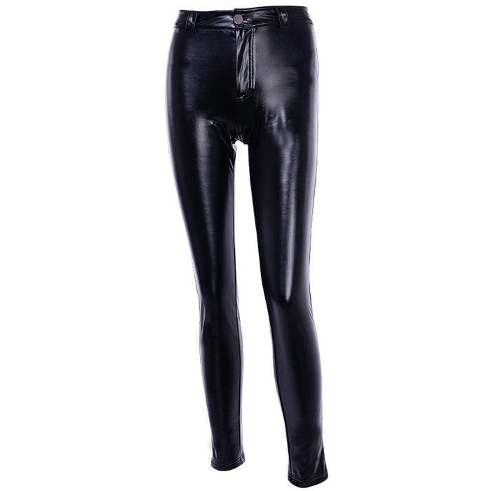 Gothic zipper tight dark sexy women's slacks