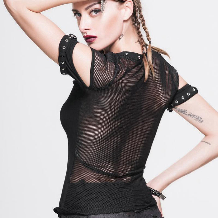 Gothic sexy hollowed-out rivet mesh stitching see-through T-shirt