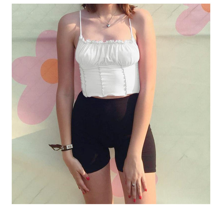 Vest female suspenders sexy fungus collar top