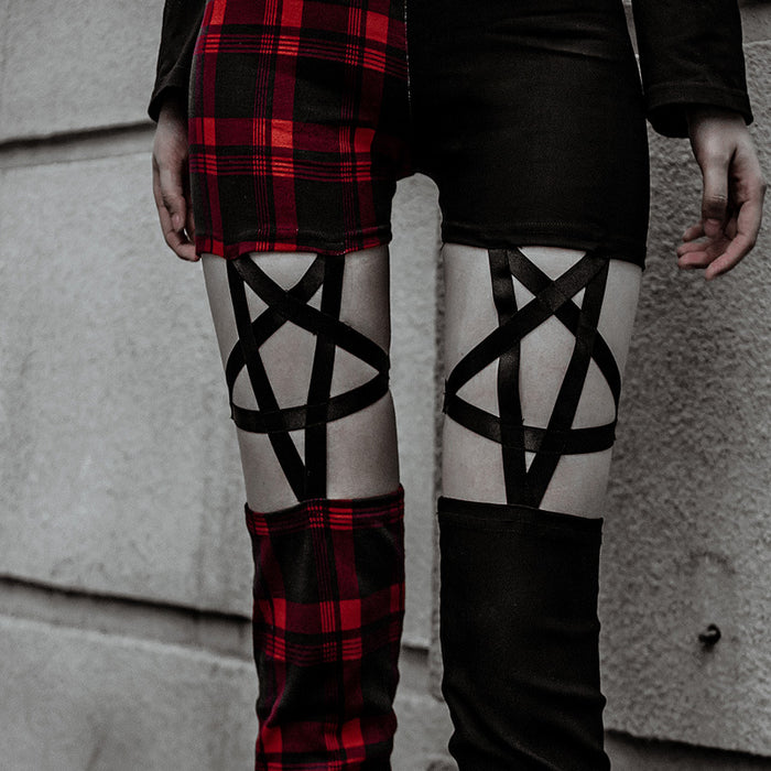 Gothic lolita tide pentacle star hollow out recreational street pants