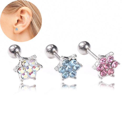 Gothic flower shaped diamond earrings