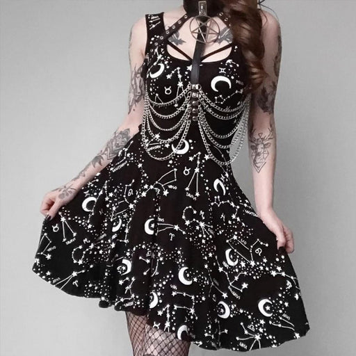 Gothic lolita hipster printed round-neck princess dress