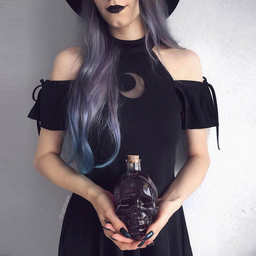 Gothic lolita Hollow out perspective crescent moon with an off-the-shoulder black dress
